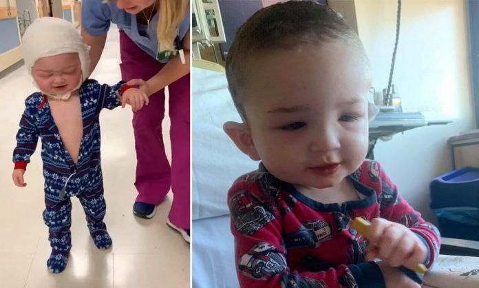 Hrabri dječak (2) hoda 24 sata nakon teške operacije glave
