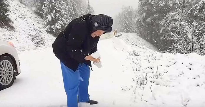 Mama (101) je zamolila sina da zaustavi auto – kako bi se igrala u snijegu