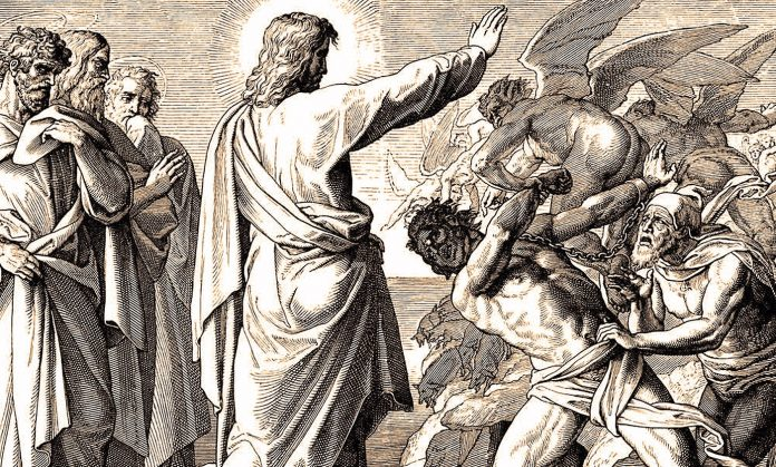 Čovjek oslobođen od demona molio je Isusa da ga povede sa sobom, no Isus mu je rekao da ostane i propovijeda Božju milost svima oko sebe.