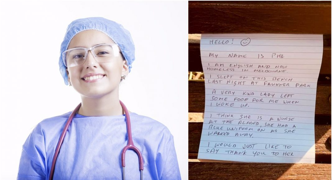 Beskućnik napisao pismo medicinskoj sestri koja mu je ostavila hranu