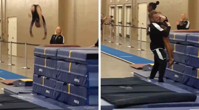 Trener za dlaku spasio mladu gimnastičarku od opasnog pada