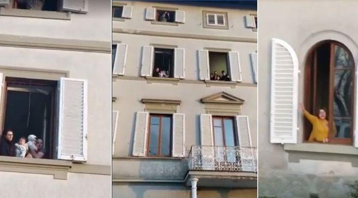 ''Naš Bog je velik!'' Mladi Talijani s prozora slave Boga