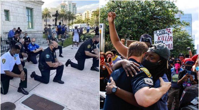 Prosvjednici su krenuli prema postaji, a policajci su kleknuli i zatražili oproštenje