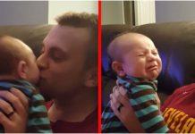 Beba ima najslađu reakciju na tatine poljupce