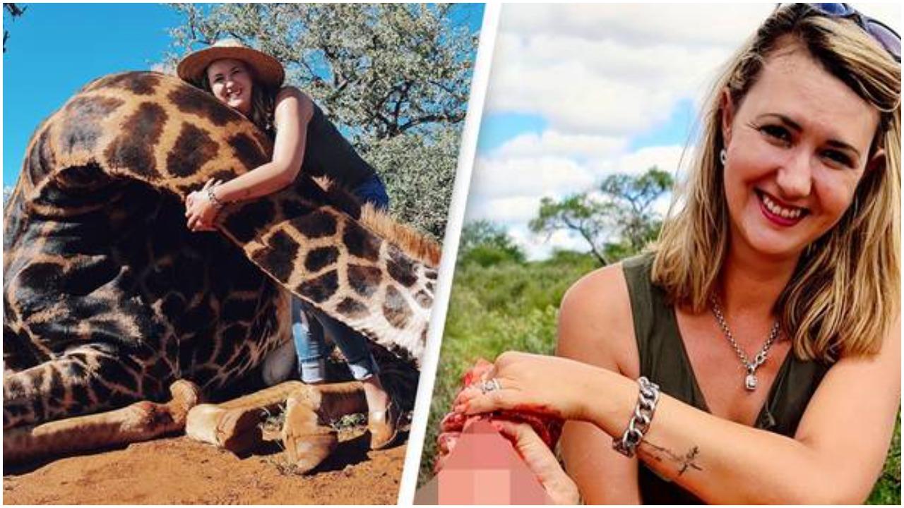 Žena (32) pozirala s mrtvom žirafom koju je ustrijelila