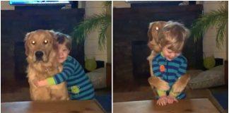 Dječak zagrlio psa